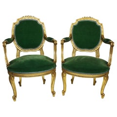 Pair of French Belle Époque Louis XV Style Fauteuil à la Reine Armchair Frames