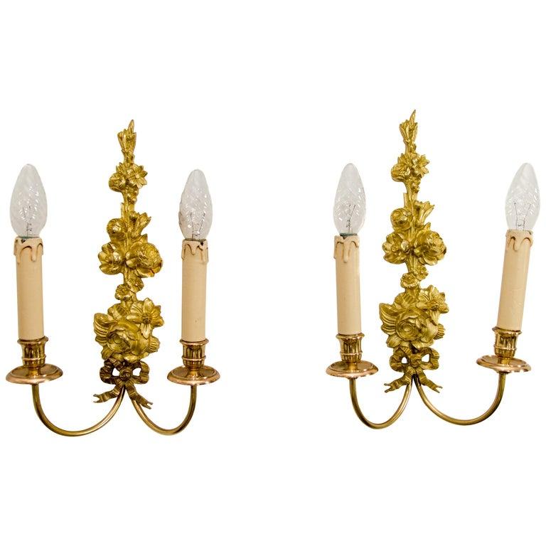 Pair Of French Belle Époque Style Gilt Bronze Sconces