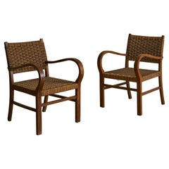 Pair of French Bentwood Rope Chairs, 1950's