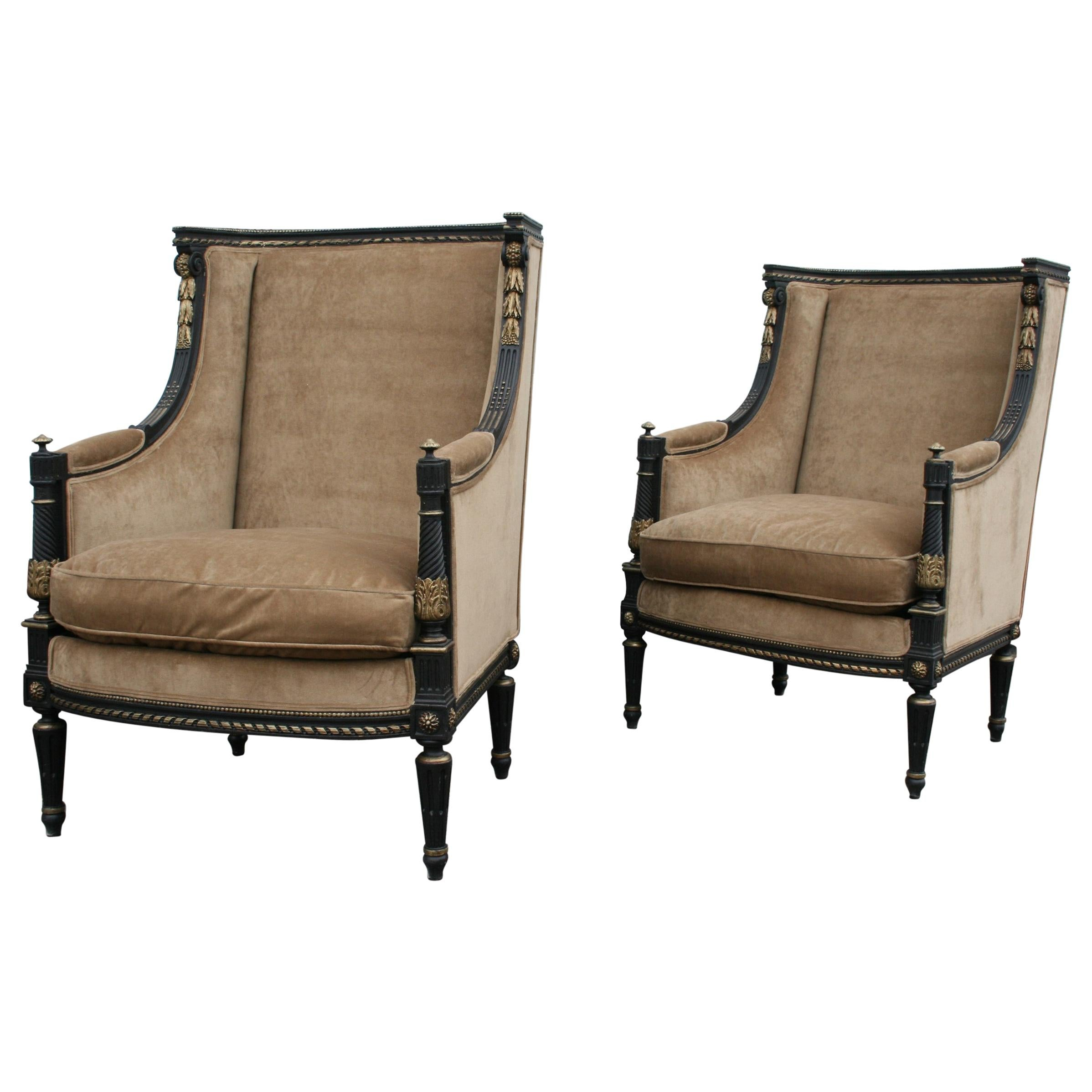 Pair of French Bergère Armchairs