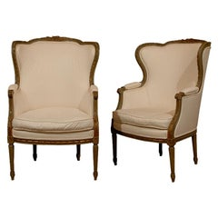 Pair of French Louis XVI Style 19th Century Painted Wingback Bergères Chairs