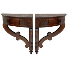 Pair of French Biedermeier Style Corner Walnut Wall-Mounted Consoles