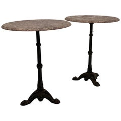 Pair of French Bistro Tables with Marble Top