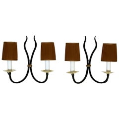 Pair of French Black and Brass Two Arm Deco Sconces