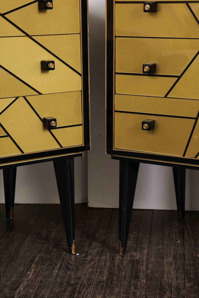 Pair of French Black and Gold Art Deco Style Nightstands In Good Condition For Sale In New York, NY
