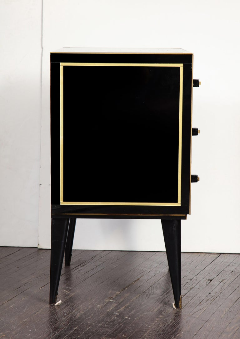 Pair of French Black and Gold Art Deco Style Nightstands For Sale 2