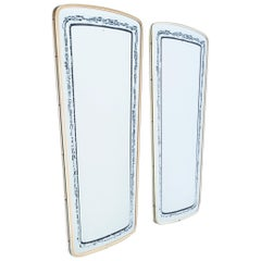 Pair of French Black and White Patterned Mirrors, 1960s