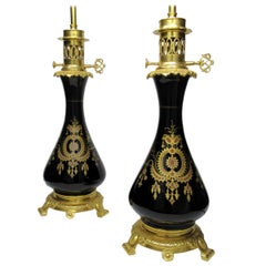 Pair of French Black Enameled Glass Ormolu Table Lamps Art Nouveau, 19th Century