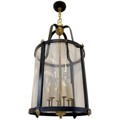 Pair of French Black Iron and Gilt Lanterns