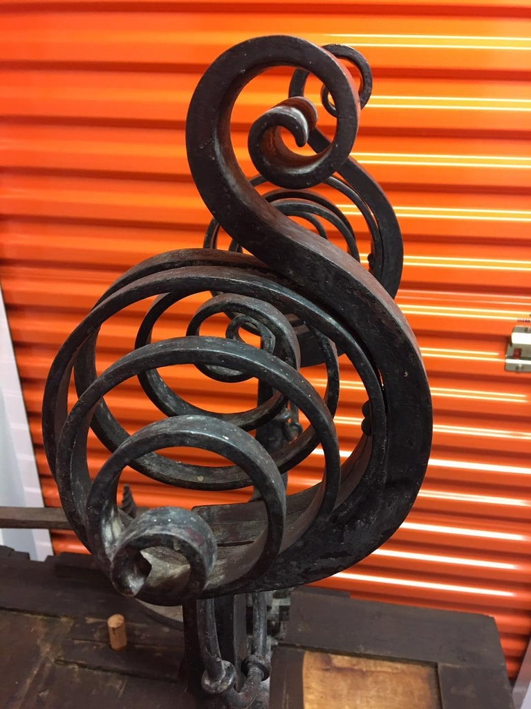 Pair of French Black Iron Scroll Top Andirons, 19th Century For Sale 5