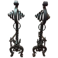 Pair of French Black Iron Scroll Top Andirons, 19th Century