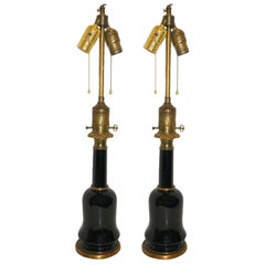 Pair of French Black Porcelain Lamps