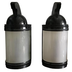 Pair of French Black Tole-Painted Helmet Lanterns