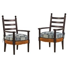 Pair of French Black Wooden Armchairs