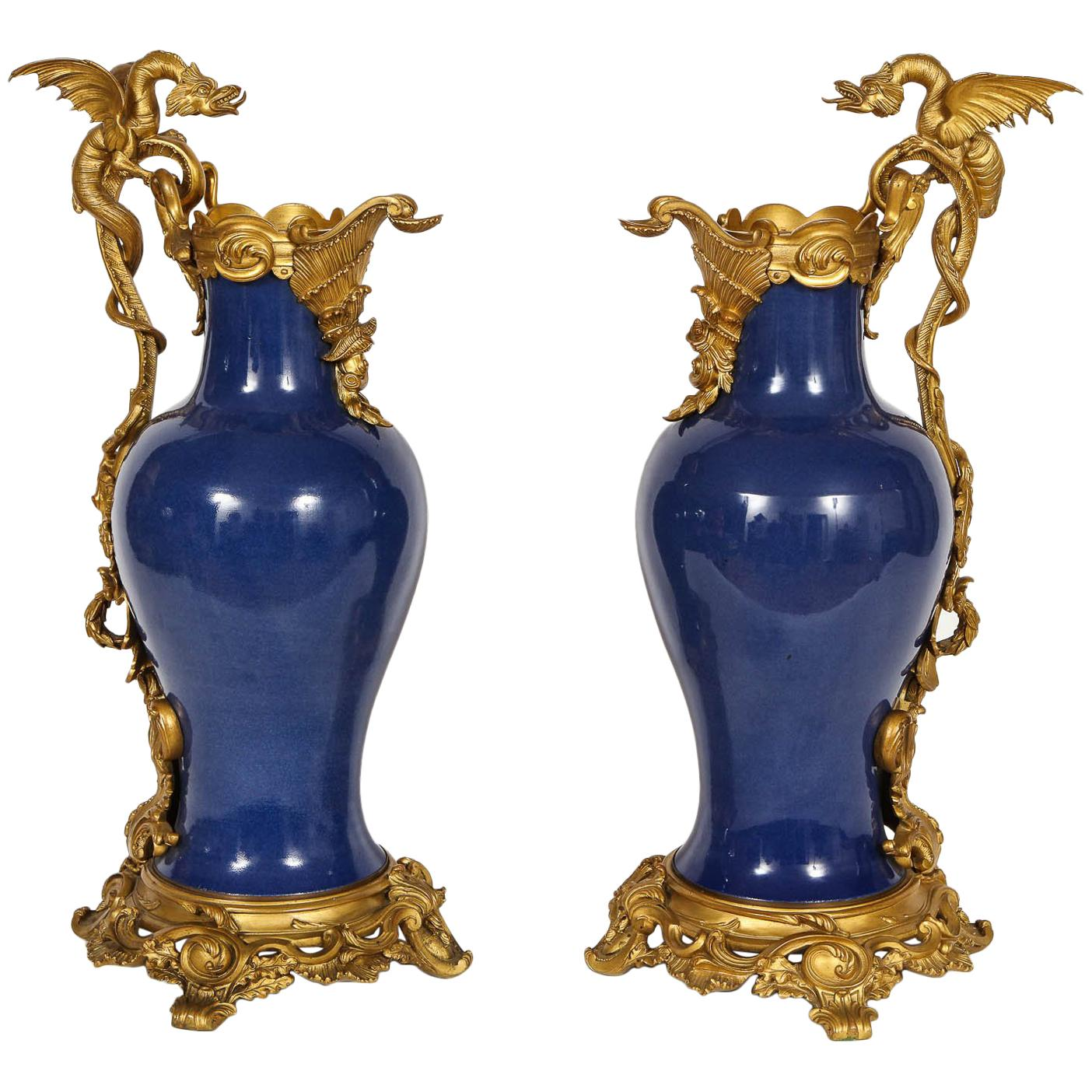 """Pair of French """"Bleu Pudre"""" Chinese Export Porcelain Ormolu-Mounted Vases"""