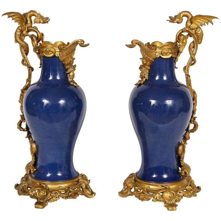 """Pair of French """"Bleu Pudre"""" Chinese Export Porcelain Ormolu-Mounted Vases For Sale"""