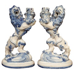 Pair of French Blue and White Roaring Lion Candleholders by Galle, Late 1800s