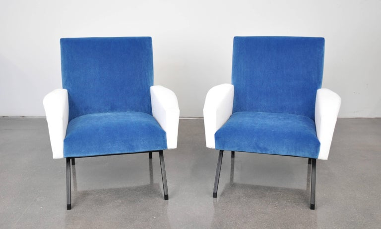 Pair of French Blue and White Velvet Lounge Chairs For Sale 5