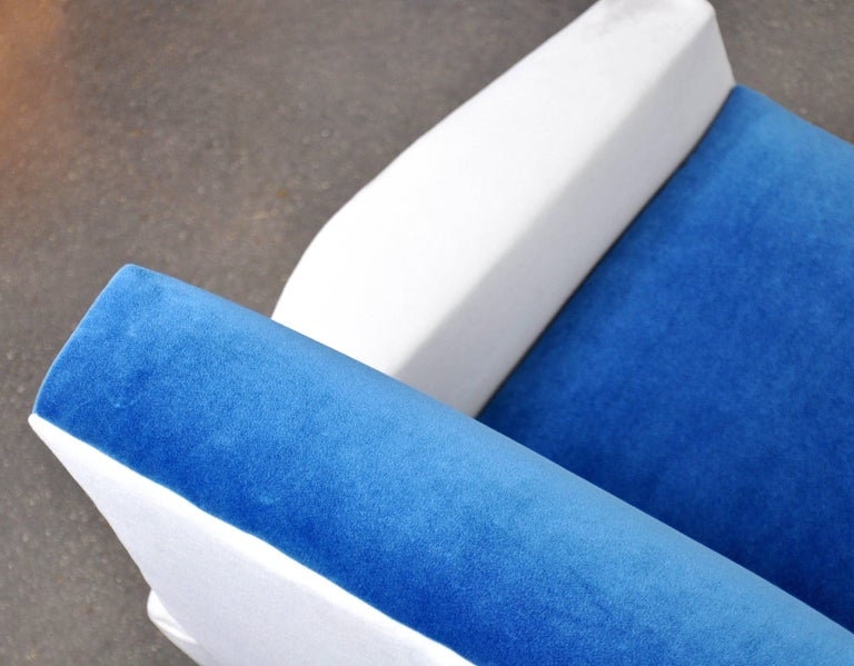 Pair of French Blue and White Velvet Lounge Chairs For Sale 6