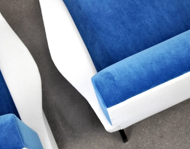 Pair of French Blue and White Velvet Lounge Chairs For Sale 7