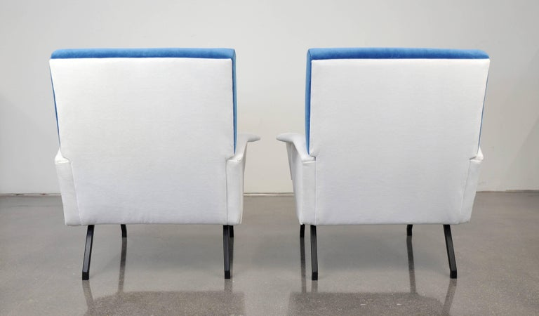Pair of French Blue and White Velvet Lounge Chairs For Sale 2