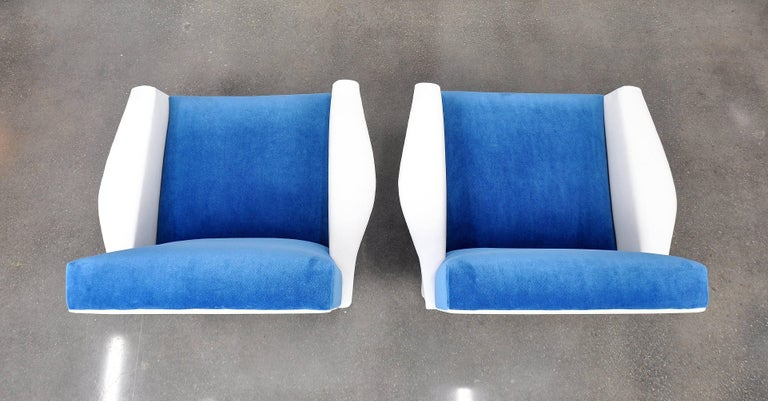 Pair of French Blue and White Velvet Lounge Chairs For Sale 3