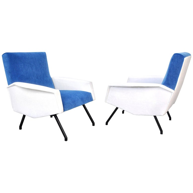 Pair of French Blue and White Velvet Lounge Chairs For Sale