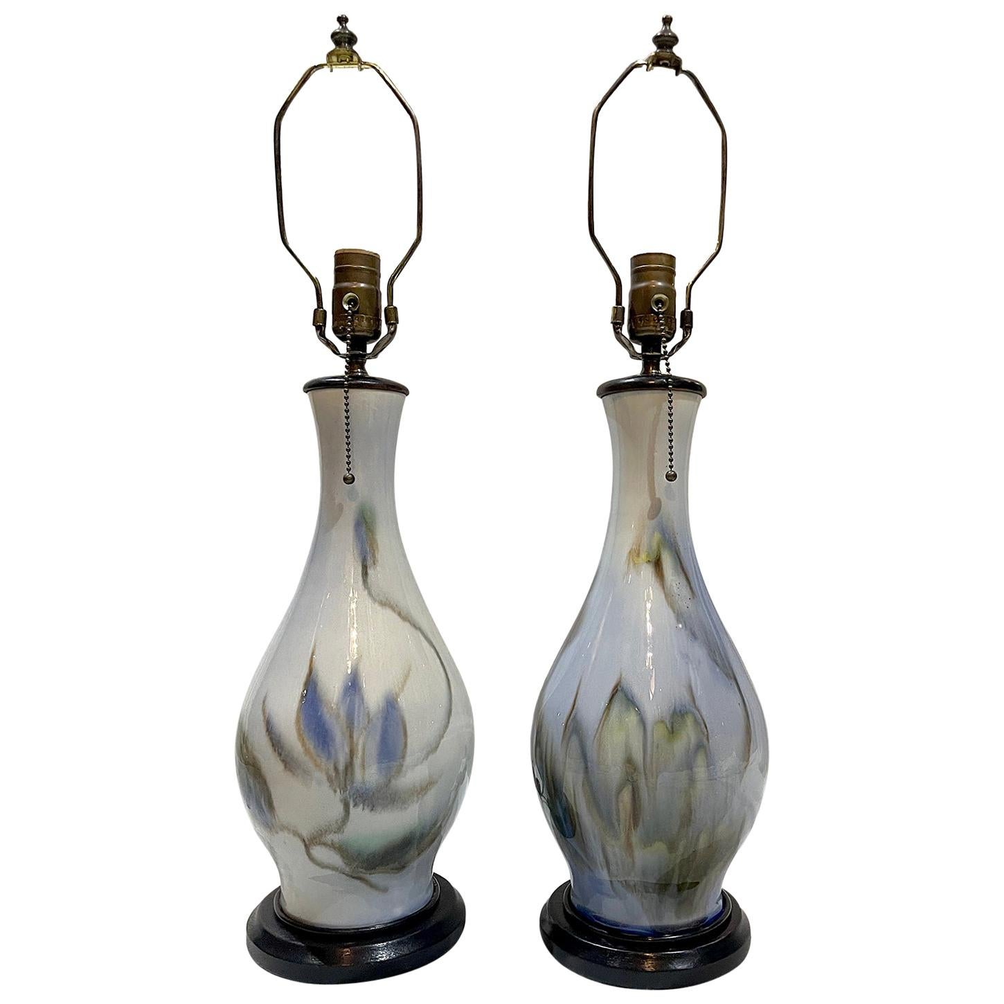 Pair of French Blue Porcelain Lamps