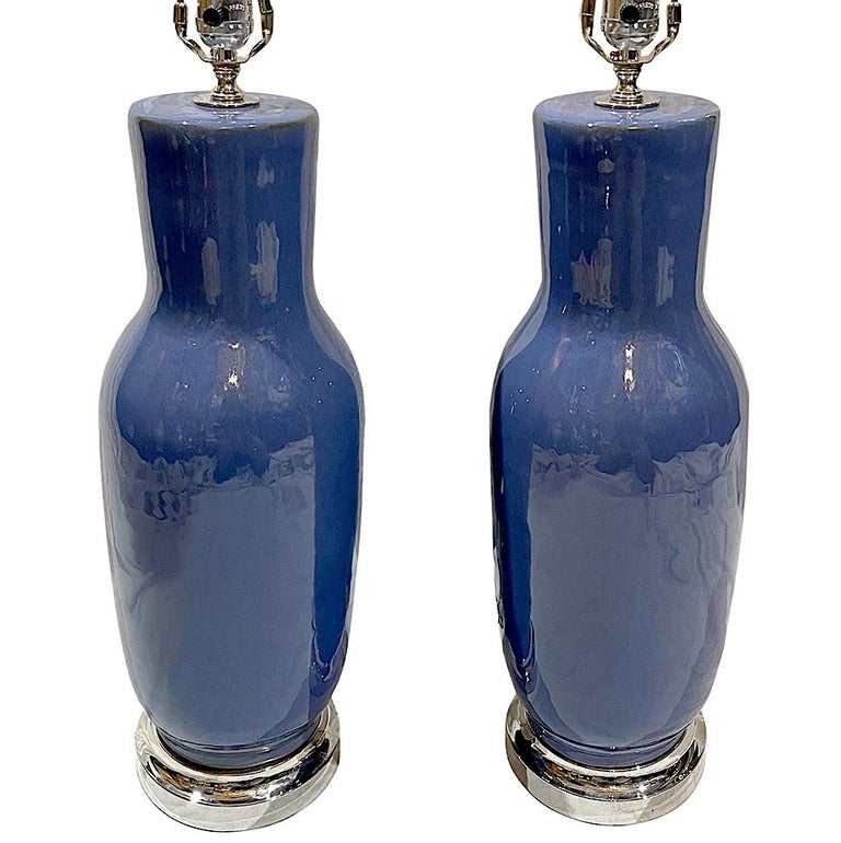 Glazed Pair of French Blue Porcelain Table Lamps For Sale