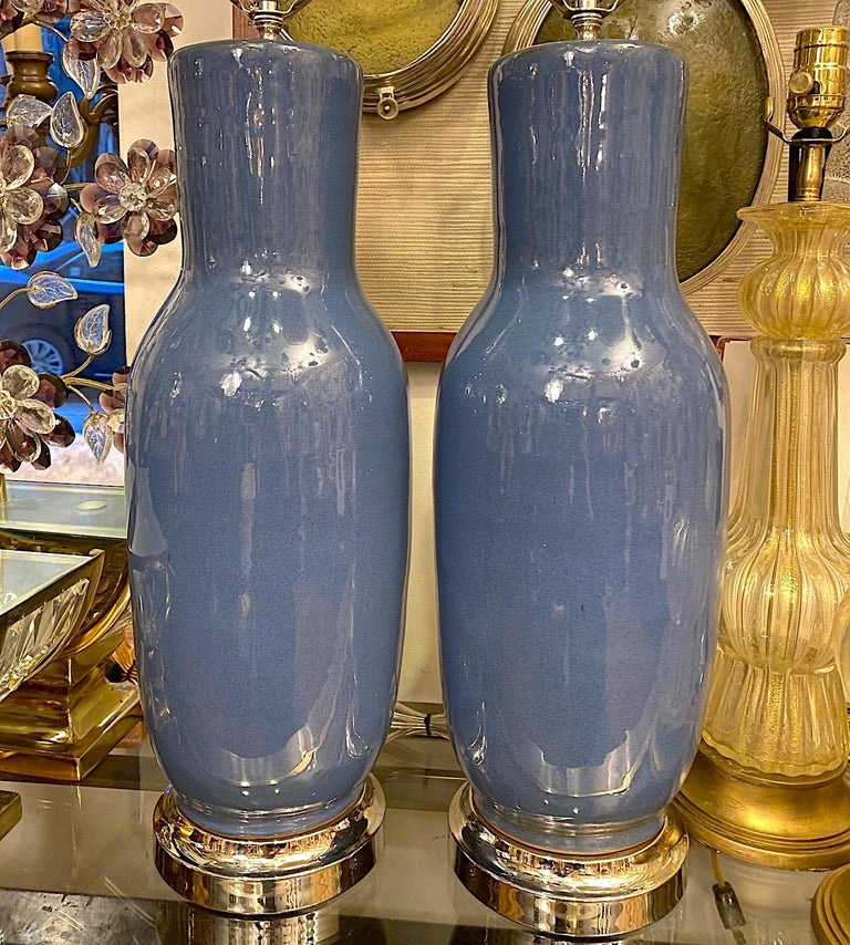Pair of French Blue Porcelain Table Lamps In Good Condition For Sale In New York, NY
