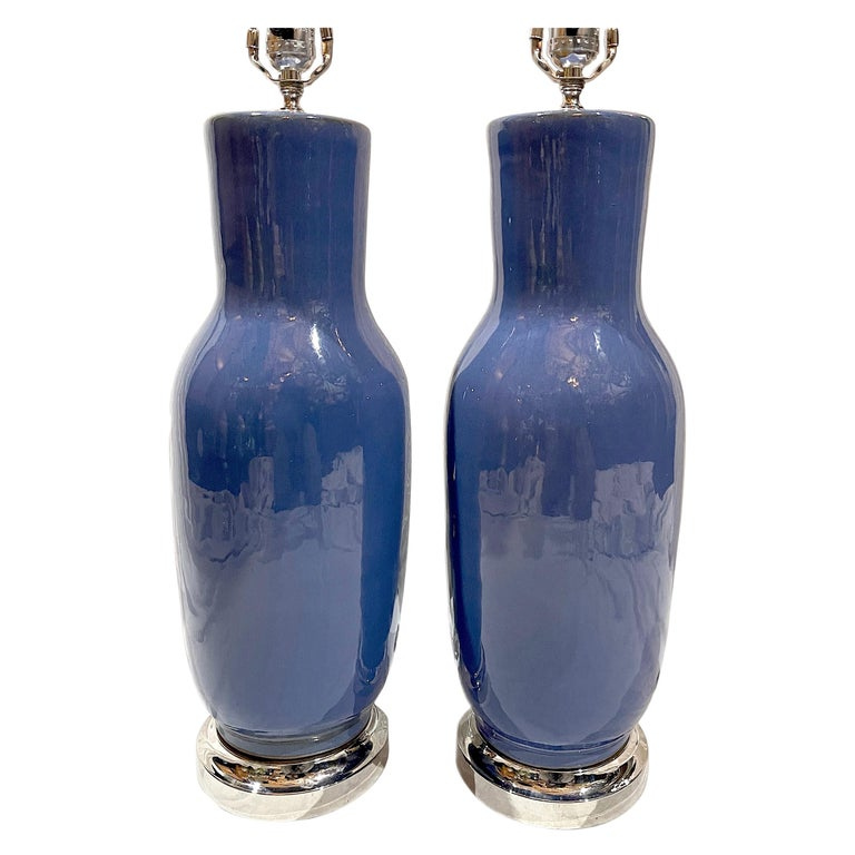 Pair of French Blue Porcelain Table Lamps For Sale