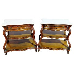 Pair of French Marble Top Bombe End Tables in the Manner of Auffray