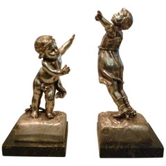 Pair of French Bookends by George Van De Voorde, France, circa 1910