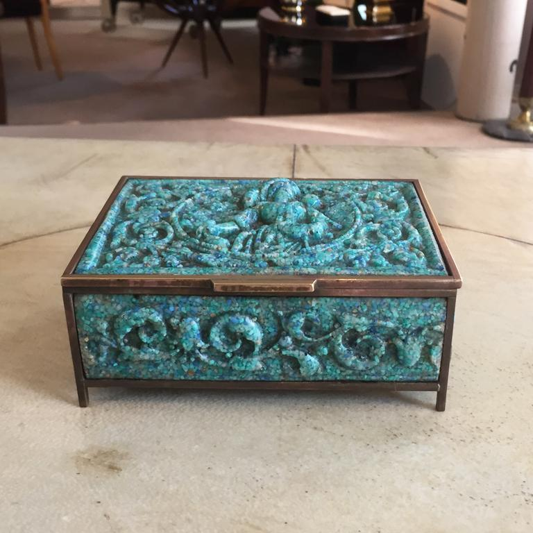 Mid-20th Century Pair of  French Boxes in Malachite Paste, 1930 For Sale