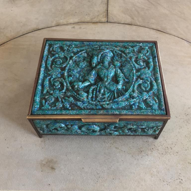 Pair of  French Boxes in Malachite Paste, 1930 For Sale 1