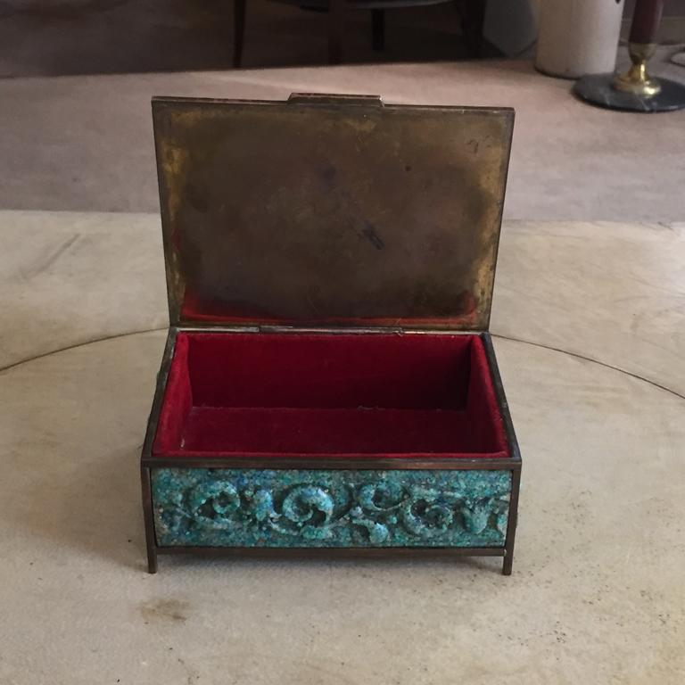 Pair of  French Boxes in Malachite Paste, 1930 For Sale 2