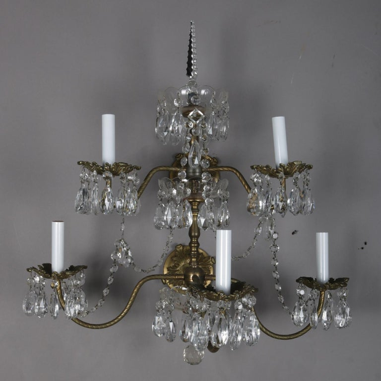 Victorian Pair of French Branch Chandelier Rock Crystal Electric Candle Light Wall Sconces For Sale