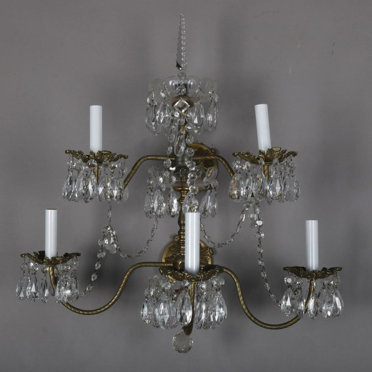 Pair of French Branch Chandelier Rock Crystal Electric Candle Light Wall Sconces In Good Condition For Sale In Big Flats, NY