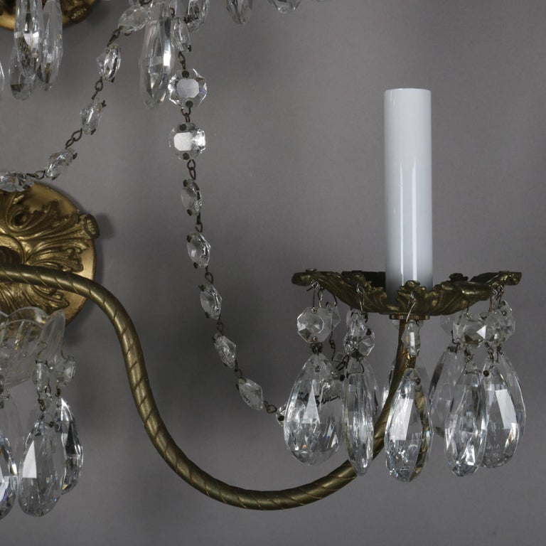 20th Century Pair of French Branch Chandelier Rock Crystal Electric Candle Light Wall Sconces For Sale