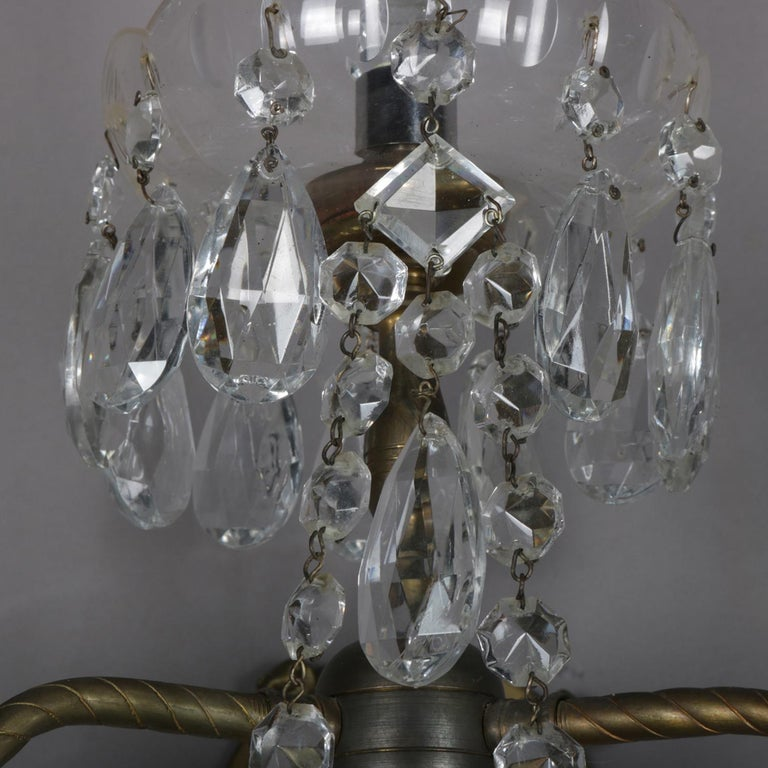 Brass Pair of French Branch Chandelier Rock Crystal Electric Candle Light Wall Sconces For Sale