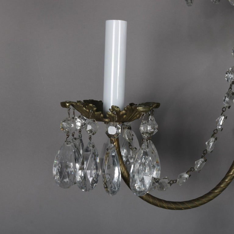 Pair of French Branch Chandelier Rock Crystal Electric Candle Light Wall Sconces For Sale 1