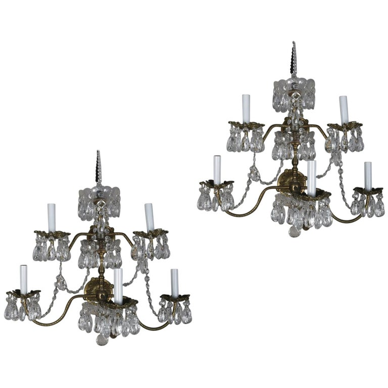 Pair of French Branch Chandelier Rock Crystal Electric Candle Light Wall Sconces For Sale