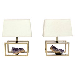 Pair of French Brass and Amethyst Lamps