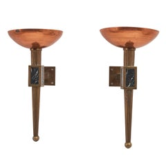 Pair of French Brass and Copper Torcheres, circa 1930