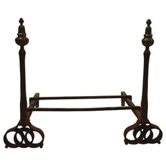 Pair of French Brass and Hand Forged Wrought Iron Andirons