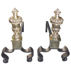 Pair of French Brass and Polished Steel Urn Finial Acanthus Andirons, Circa 1850