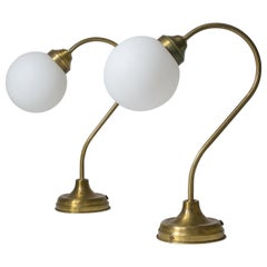 Pair of French Brass and Satin Glass Table Lamps