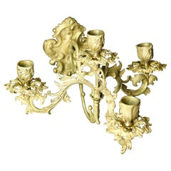 Pair of French Brass Candle Light Sconces, France Louis XVI Style, 19th Century