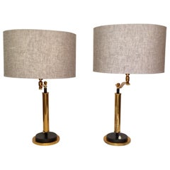 Pair of French Brass Desk Lamps by Robert Mathieu