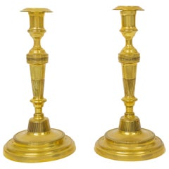 Pair of French Brass Directoire Period Antique Candlesticks, Early 19th Century